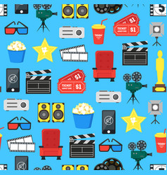 cartoon cinema color element background pattern on vector image vector image