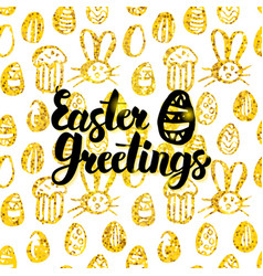 Easter greetings handwritten card vector