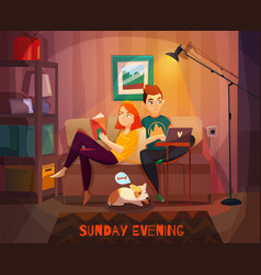 Evening rest of couple vector