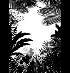 Exotic tropical background of silhouette vector