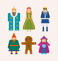 Fairy tale characters cartoon flat isolated vector