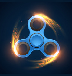 Fidget spinner with neon light spinning effect vector
