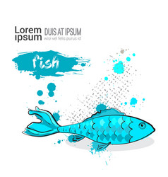 fish hand drawn watercolor food on white vector image