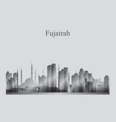 Fujairah city skyline silhouette in grayscale vector