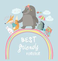 Happy animals walking on rainbow vector