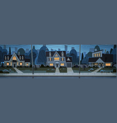 Houses night view suburb of big city cottage real vector