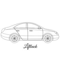 Liftback car body type outline vector