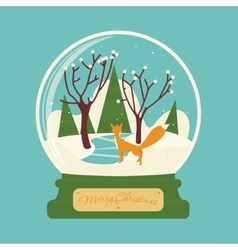 Merry christmas glass ball with fox in the forest vector image
