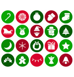 merry christmas - white icons vector image vector image