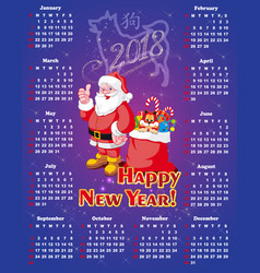 new year festive calendar for 2018 vector image vector image