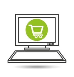 Pc device work media shopping cart icon vector