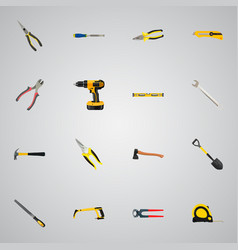 realistic pliers spanner nippers and other vector image vector image