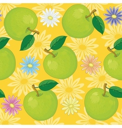 Seamless background flowers and apples vector image