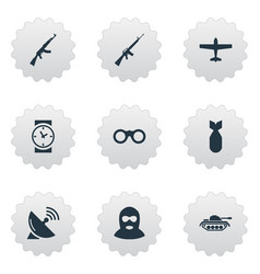 set of 9 simple war icons can be found such vector image vector image