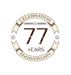 seventy seven years anniversary celebration logo vector image vector image