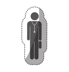 Sticker monochrome silhouette pictogram doctor vector