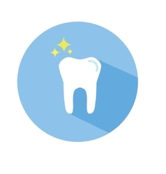 Tooth icon in flat style with long shadow vector image vector image
