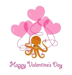 Valentines day banner with octopus vector image