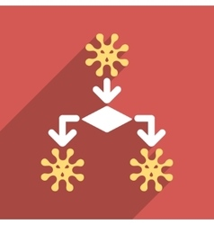 Virus reproduction flat longshadow square icon vector