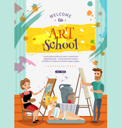 visual art school classes offer poster vector image