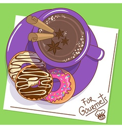 With cup of hot chocolate and donuts vector