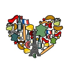 I love paris traditional french national set of vector