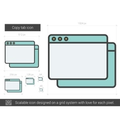 Copy tab line icon vector image