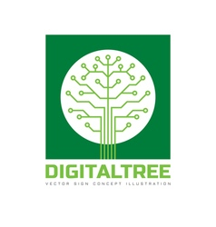 Digital tree - logo template vector