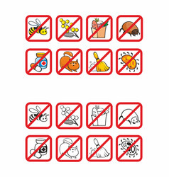 Common allergens warning signs set vector