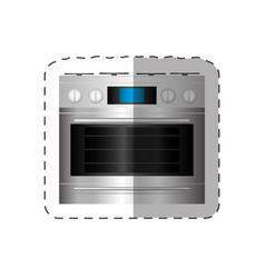 electric oven appliance home cut line vector image