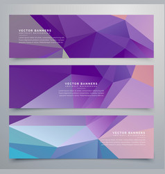 Abstract purple banners set of three vector
