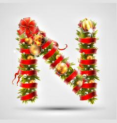 christmas font letter n of christmas tree vector image