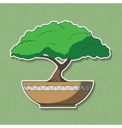 Colorful paper bonsai tree vector