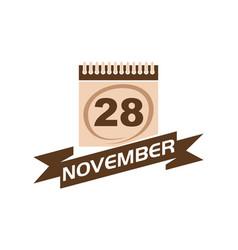 28 november calendar with ribbon vector