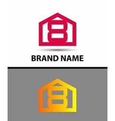 Number 8 logo logotype design with house vector