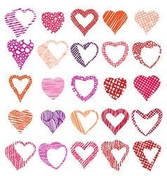 Hearts symbols set different shapes and textures vector