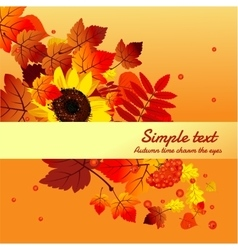 Autumn card with horizontally space for text vector