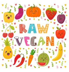 Raw vegan cute happy fruits and vegetables in vector