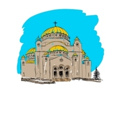 Orthodox church building vector