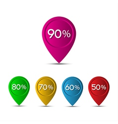 3d pointer with the percentage discounts isolated vector