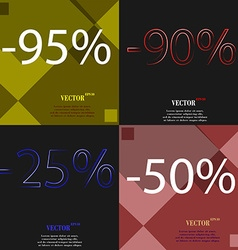 90 25 50 icon set of percent discount on abstract vector