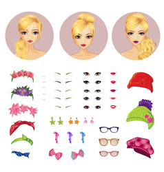Girl avatars constructor and accessories vector