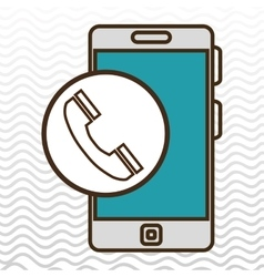 Smartphone blue and telephone isolated icon design vector