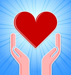 Caring hands with heart vector