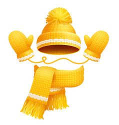 cute hat scarf and gloves vector image