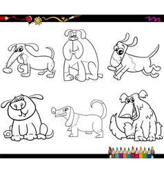 dogs set cartoon coloring page vector image vector image
