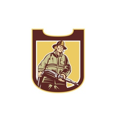 Fireman firefighter aiming fire hose shield retro vector