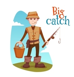 fisherman with bucket and vector image vector image