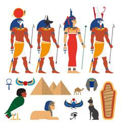 flat egypt symbols set vector image vector image
