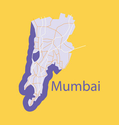 Flat icon map of mumbai vector